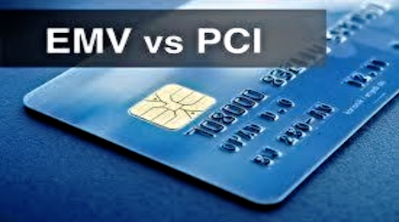 Credit Card with EMV vs PCI Logo