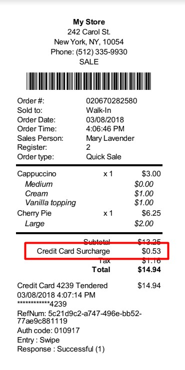 Surcharge Receipt with Fee